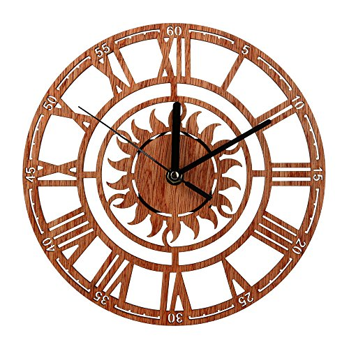 AKIMPE Wall Clock Silent Non Ticking Quartz Digital Large Atomic Round Decorative Glass Cover Modern Battery Operated for Living Room Home Office Bedroom Classroom Copper