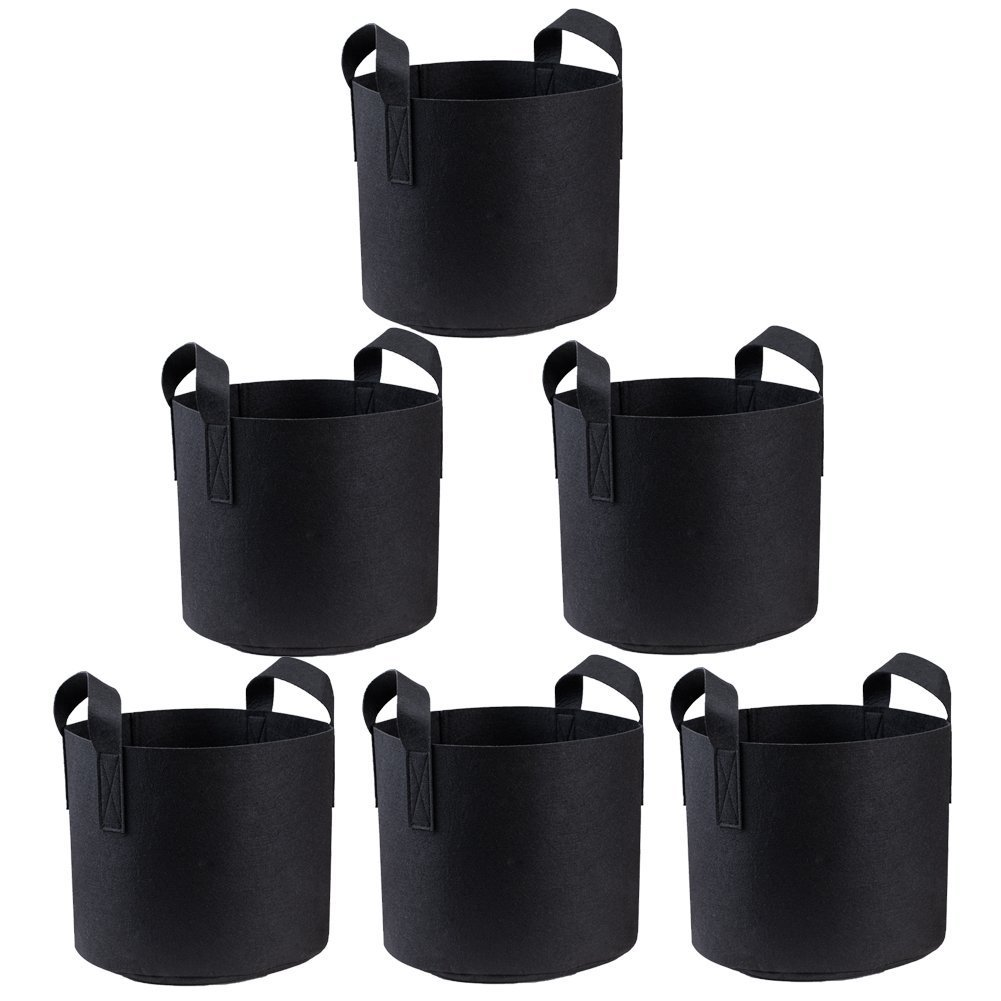 ORYOUGO 3 Gallon Premium Grow Bags /Aeration Fabric Pots, Aeration Fabric Smart Pots Ideal for Plants Growing, Portable Plants Fabric Container - Perfect for Nursery Garden(6 Pack)