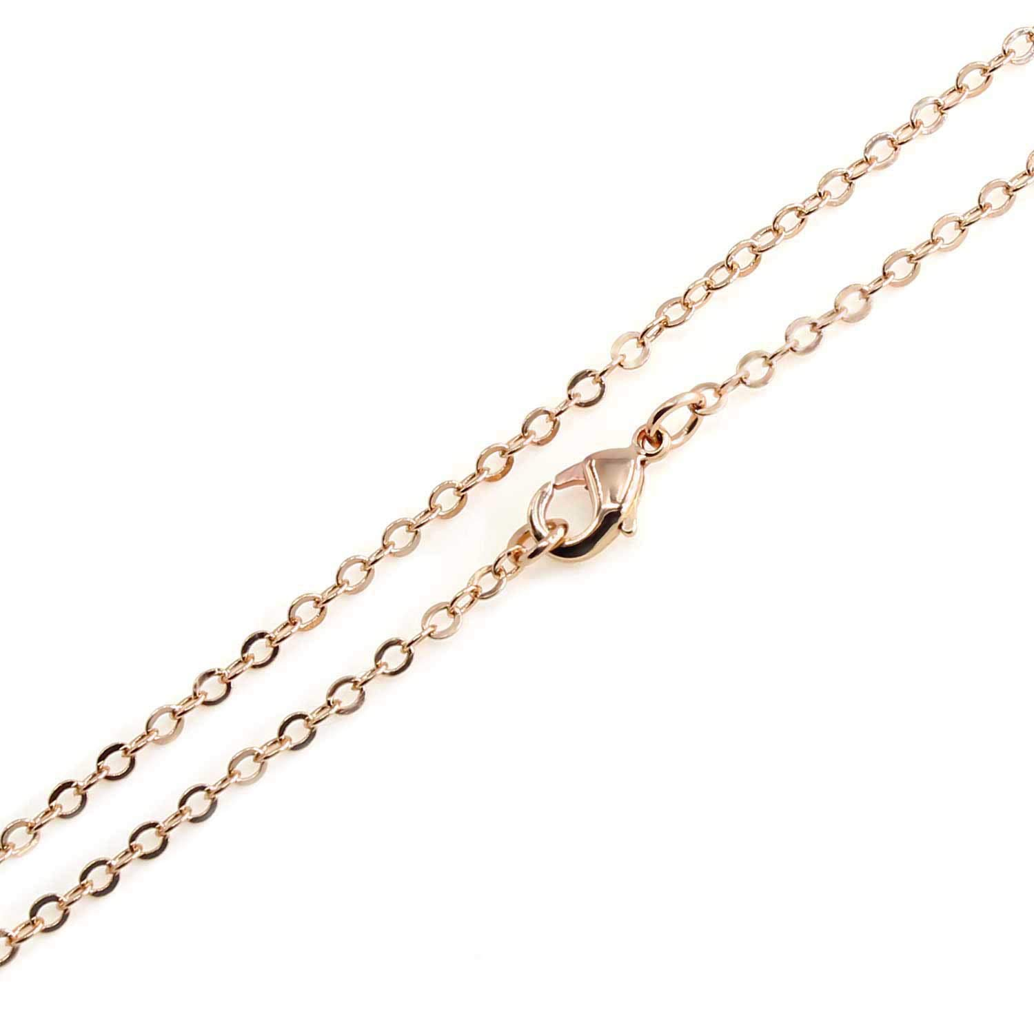 Wholesale 12PCS Rose Gold Plated Solid Brass Flat Cable Chains Bulk Fine Chain for Jewelry Making 18-30 Inches (18(1.5MM)) ALEXCRAFT 4336832471