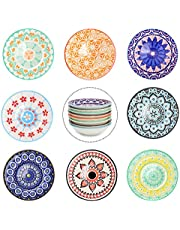Farielyn-X 3 oz Round Soy Sauce Dipping Bowls Set of 8, Porcelain Side Dishes/Plates for Snack Sushi Ketchup Condiments Appetizer Dessert, 4 Inch Small Pinch Bowls for Kitchen Prep, Assorted Patterns