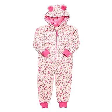 dc40a108d682 Children Kids Girls Hooded Fluffy Fleece Onesie Jumpsuit Printed Hearts Age  2-13