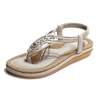 Socofy Damen Sandalen, Flip Flops Böhmische Sommer Sandals Flach Zehentrenner Stil T-Strap Offene Schuhe Strand Schuhe Pink-A 41