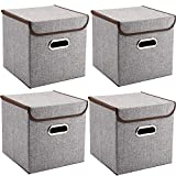 Storage Bins Pack of 4 Mee'life Storage Linen Fabric Foldable Basket Cubes Organizer Boxes Containers Drawers with Lid & Handle For Office Nursery Bedroom Shelf Gray
