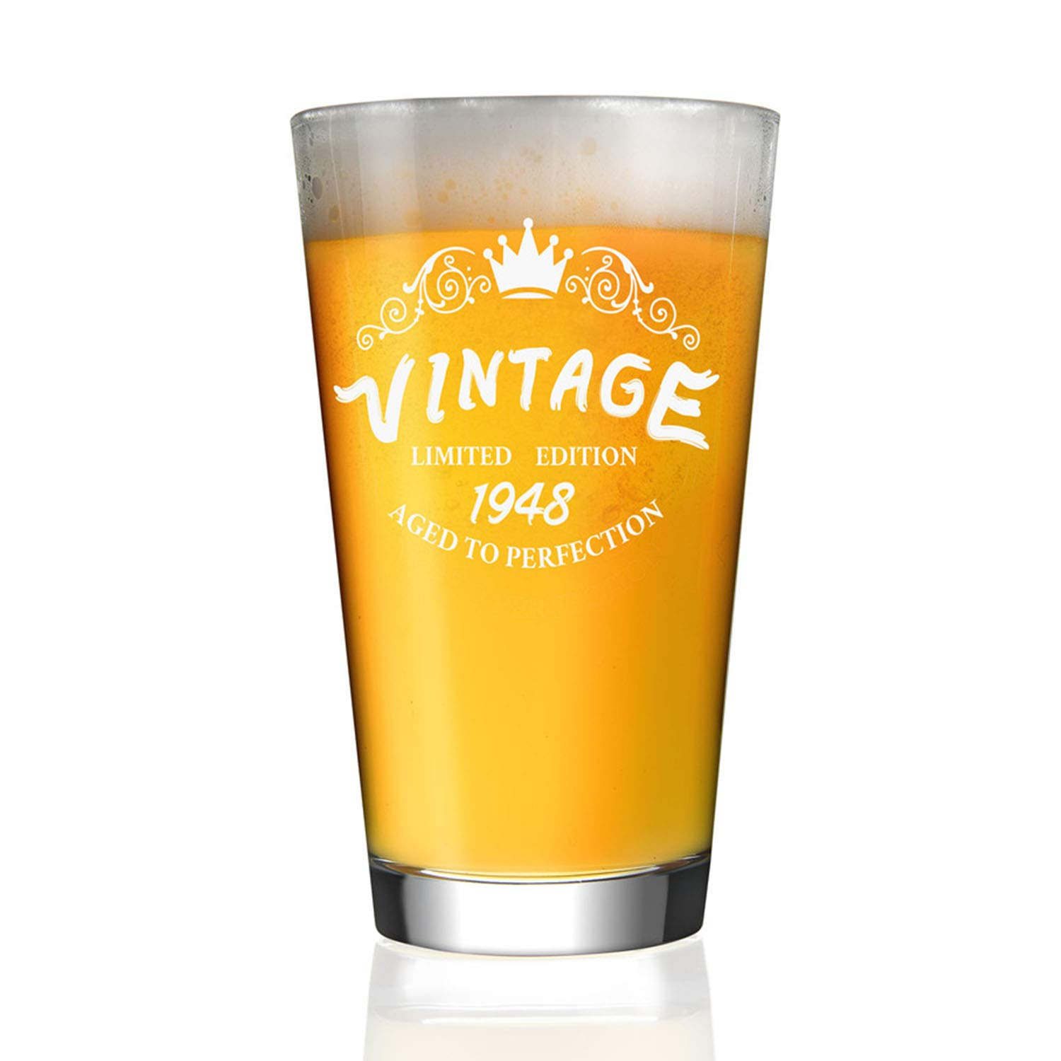 1948 70th Birthday Gifts For Men And Women 16 Oz Beer Glass