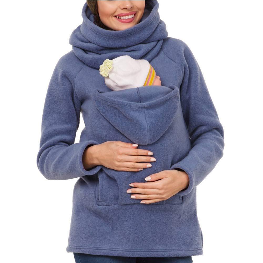 Langarm Umstandsjacke Warm Tragepullover mit Babyeinsatz K/änguru Umstandsmode Damen Tragejacke f/ür Mama und Baby