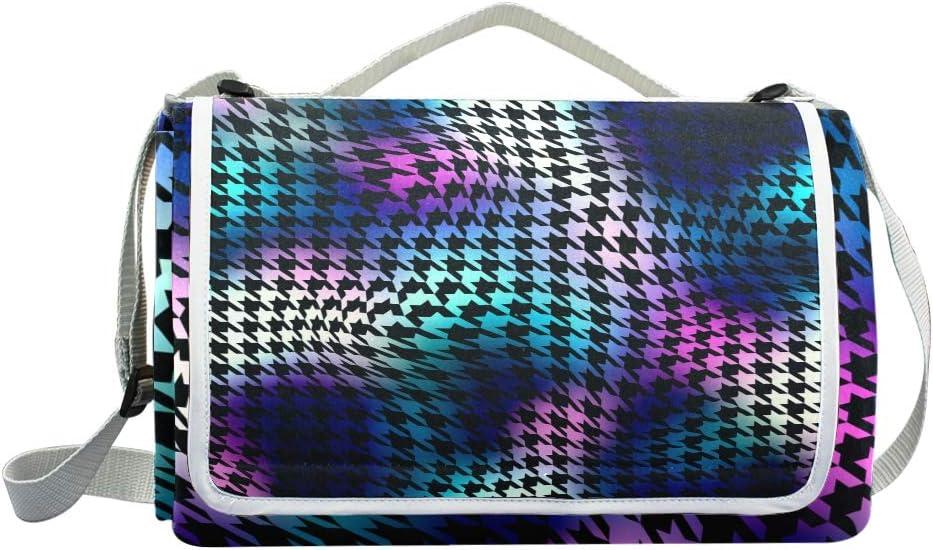 XINGAKA Coperta da Picnic Tappetino Campeggio,Pied de Poule Curvo estratto Senza Cuciture del Modello del Fondo,Giardino Spiaggia Impermeabile Anti Sabbia 15