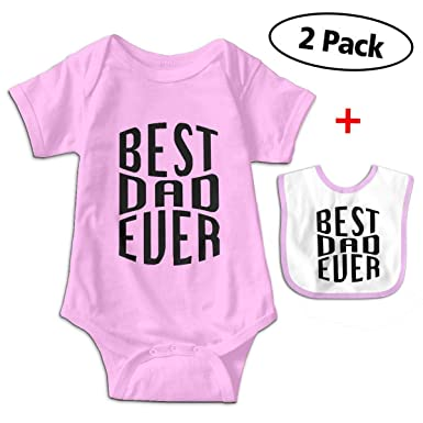 9bbccebafe77 Amazon.com  Best Dad Ever Unique Baby Romper Bodysuit Onesie + Bibs ...