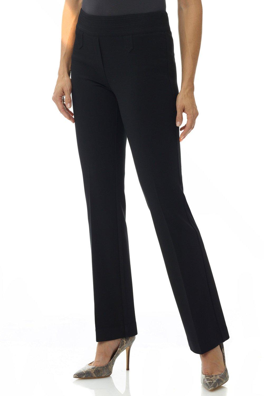 Rekucci Women's Secret Figure Pull-On Knit Bootcut Pant w/Tummy Control (16,Black)