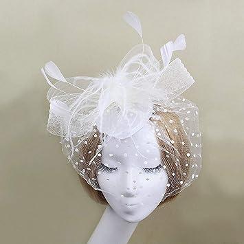Amazon.com   Womens Hot Trendy Women Feather Hat Hair Bow Veil Bridal  Wedding Party Headdress Photo Portrait Flower NEW Feather Hats Hairpin  Beige   Beauty a5c63f67109