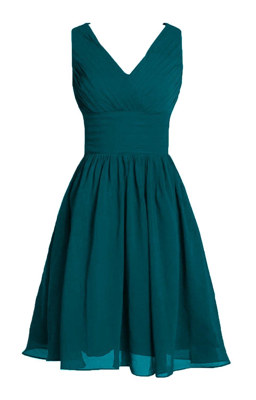 Dobelove Women's V-neck Short Chiffon Prom Party Dress