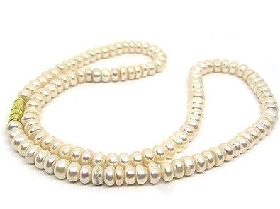 7b67b9fb0 White Real Pearl Saccha Moti Mala Crystal Moonstone 108 Beads Mala for Men  and Women (