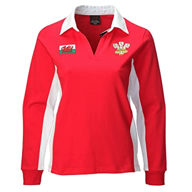 1f2817f6a00 Manav (UK) Ladies Welsh Contrast Long Sleeve Red Rugby Shirt: Amazon.co.uk:  Clothing