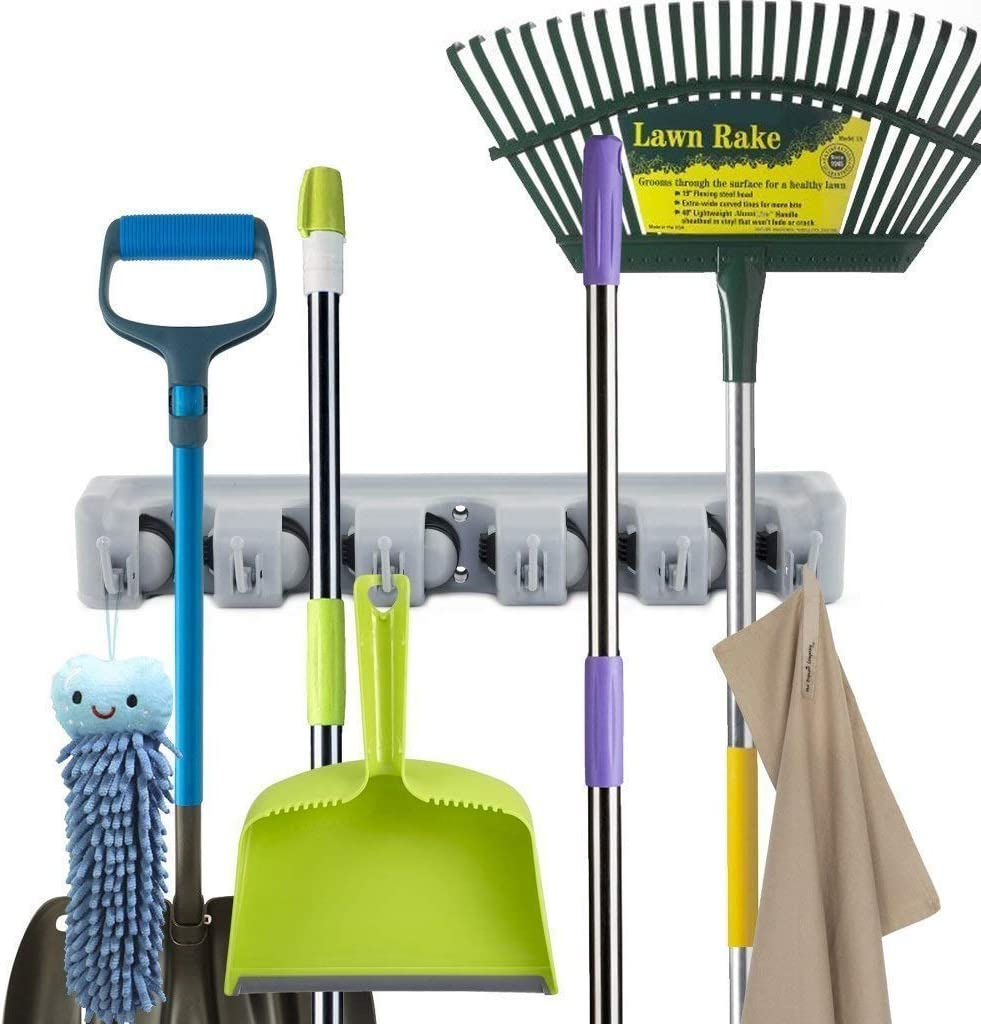 Yevenr Durable Mop Holder Rack Mop Broom Rack Montado en la Pared Mop Broom Holder Mop Broom Holder Rack para el hogar 3 Position 4 Hooks Mop Rack