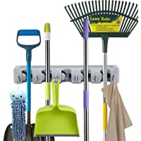 Newdora Mop and Broom Holder, 5 Non-slip Automatically Adjustable Positions with 6 Hooks, Wall and Closet Mounted…