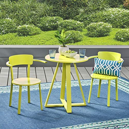 Christopher Knight Home 304876 Kate Outdoor Iron Bistro Set, Matte Lime Green