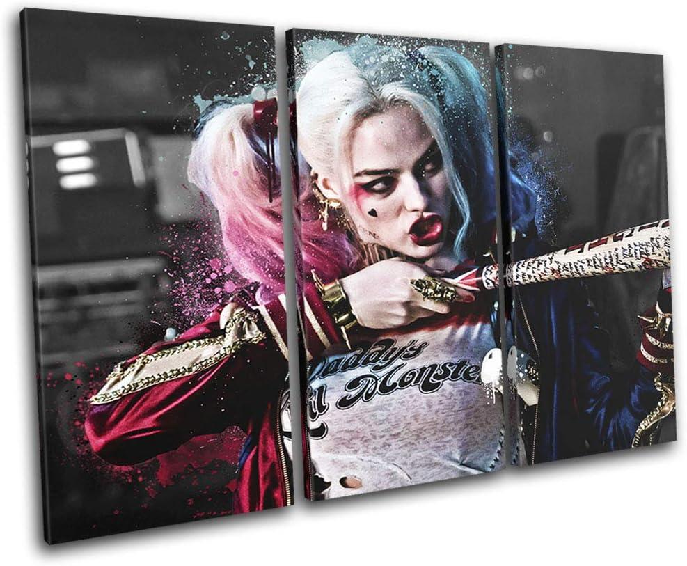 Bold Bloc Design - Suicide Squad Harley Quinn Movie Greats 90x60cm Treble Caja de Lamina de Arte Lienzo Enmarcado Foto del Colgante de Pared Listo para Colgar Canvas Print RC-7866(00B)-TR32-LO-B: Amazon.es: Hogar