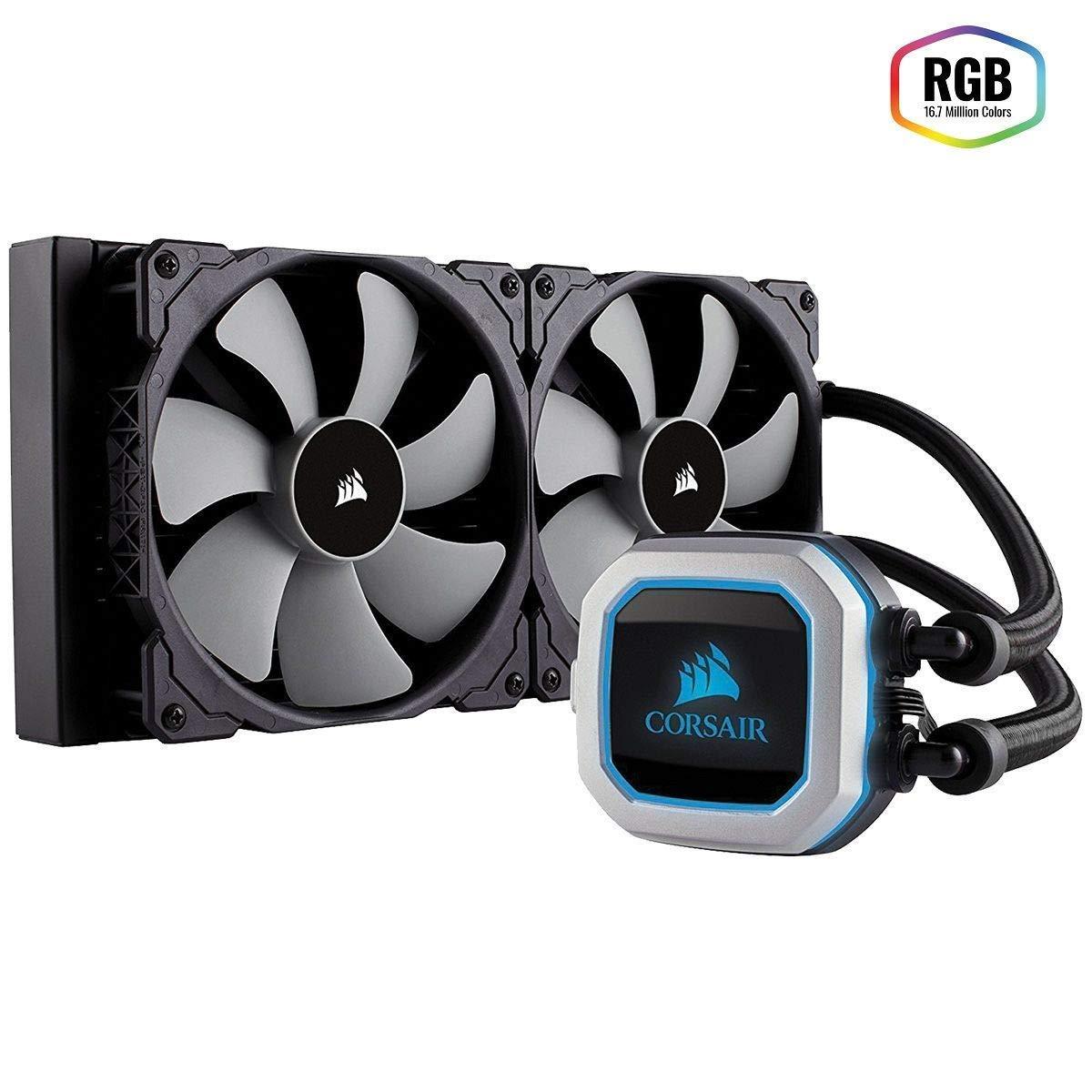 CORSAIR HYDRO Series H115i PRO RGB AIO Liquid CPU Cooler,280mm, Dual ML140 PWM Fans, Intel 115x/2066, AMD AM4 (Renewed)