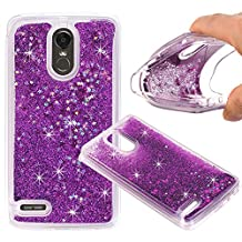 LG Stylo 3 Case, GreenElec Funny Liquid Quicksand Bling Adorable flowing Floating Moving Shine Glitter Case With Soft Silicone Around Bumper Protective Case for LG Stylo 3 (Purple)