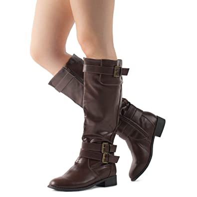 d38532f32cb7c RF ROOM OF FASHION Lady's Buckle Knee High Riding Boots with Hidden Pocket  Brown (10