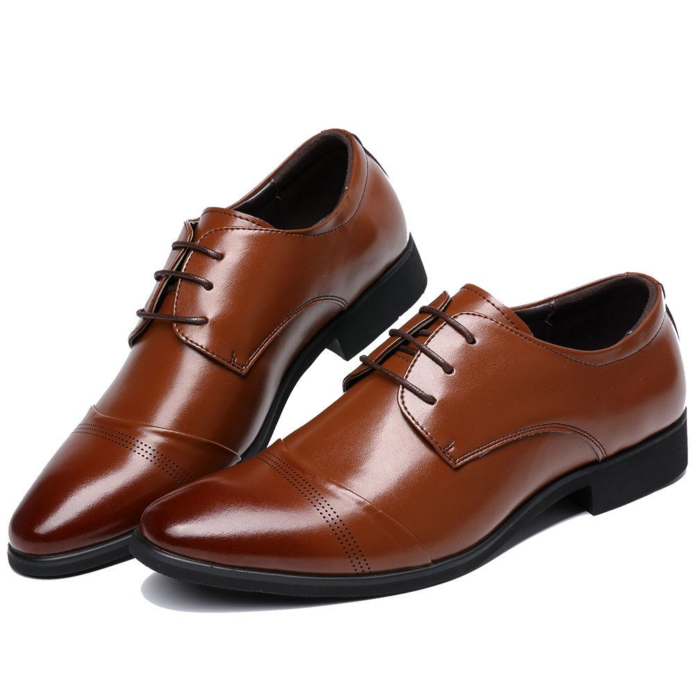 OUOUVALLEY Lace up Patent Leather Oxford Dress Shoes Formal Wedding Shoes 8808 (10 D(M) US, Brown) by OUOUVALLEY (Image #2)