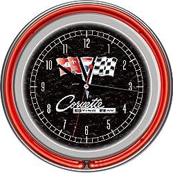 Trademark Gameroom Chevrolet Corvette Sting Ray Chrome Double Ring Neon Clock, 14