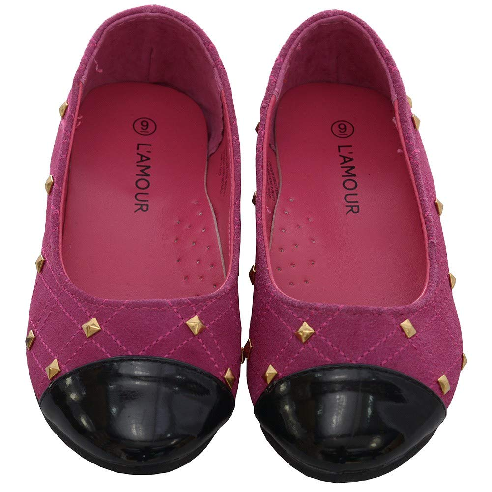 LAmour Fuchsia Suede Patent Gold Stud Ballet Shoe Toddler Girl 7-10