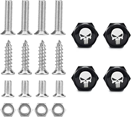 Car License Plate Frame Security Screw Bolt Caps Covers For The Punisher Skull
