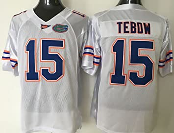 1961b1514 NCAA Mens Football Jersey Florida Gators NO.15 TEBOW WHITE Fashion Football  ...
