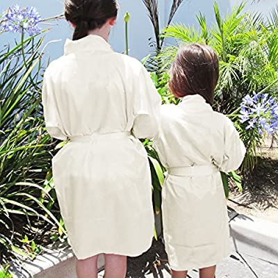 GirlEO Girl's Satin Blank Bridal Party Robes- Available in 35 Colors and Sizes ranging from Girl XS to Girl XL