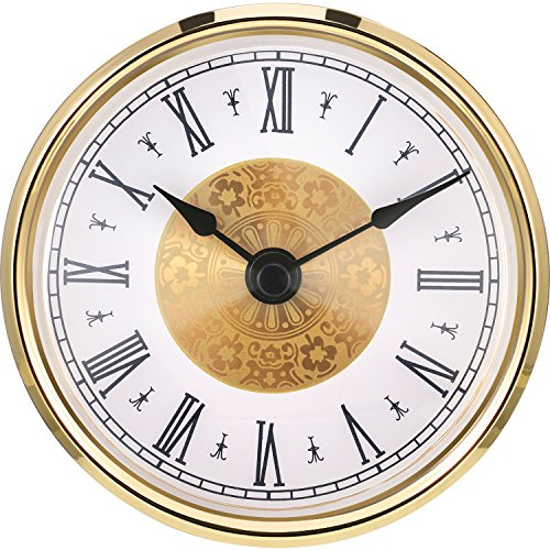 (Hicarer 3-1/8 Inch (80 mm) Clock Insert with Roman Numeral, Quartz Movement, Gold Trim)