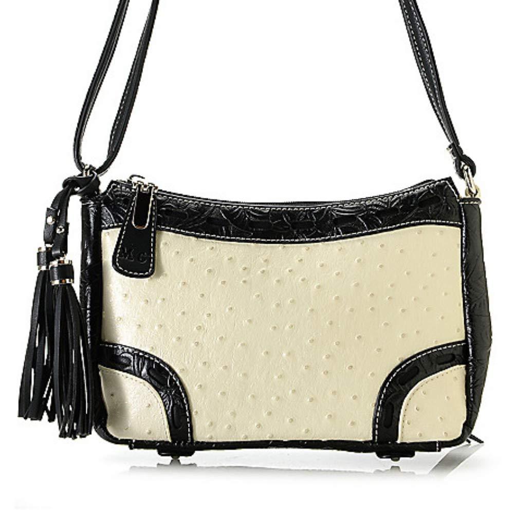 bd7a7b10da45 Savannah Ostrich-Embossed Leather Crossbody Bag: Handbags: Amazon.com