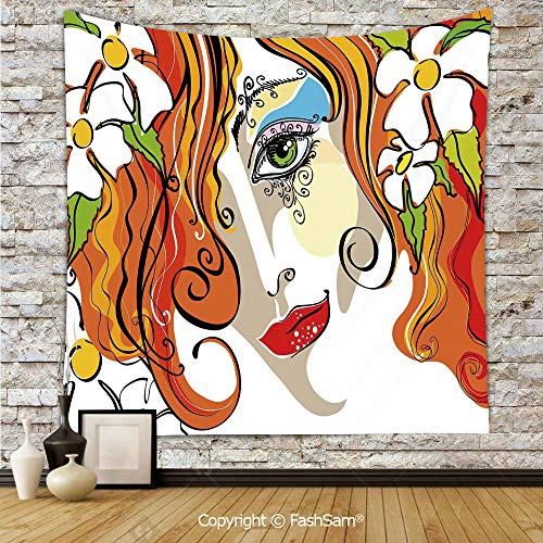 FashSam Polyester Tapestry Wall Portrait of The Young Woman with Red Hair and Blooming Flowers and Make Up Art Hanging Printed Home Decor(W59xL78) -