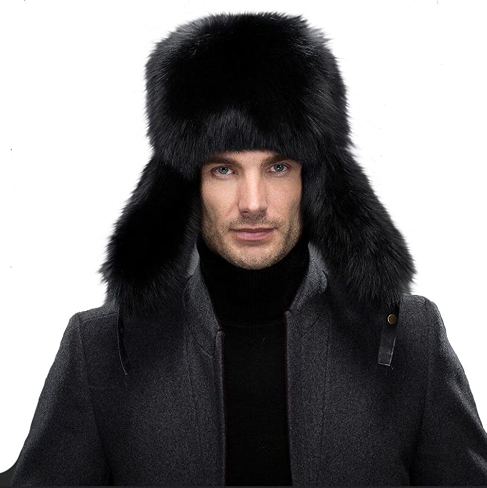Queenfur Men's Ushanka Hat Real Fur Hat Fox Fur Genuine Lambskin Russia Aviator Hats QFHF16043