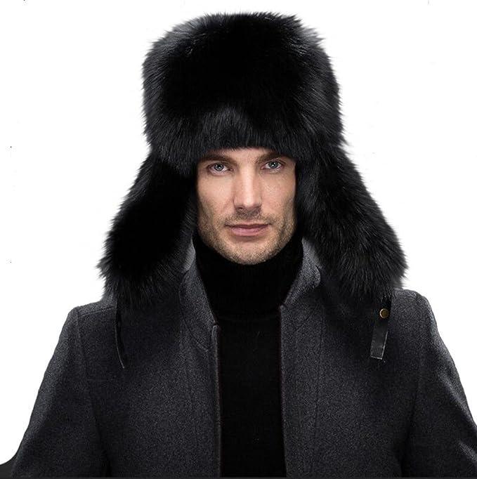 af7e436a Queenfur Men's Ushanka Hat Real Fur Hat Fox Fur Genuine Lambskin Russia Aviator  Hats (Black