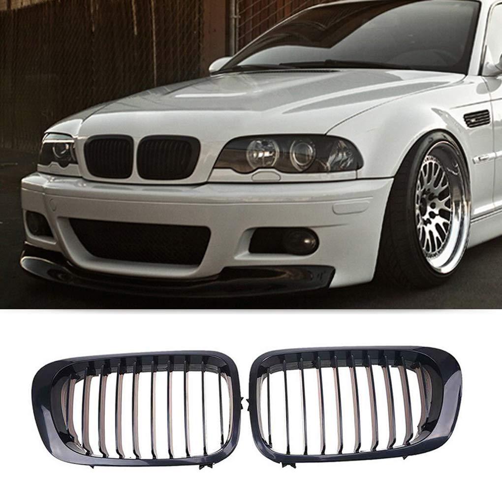 Hotaluyt Ri/ñ/ón Brillo Frente Negro Parrilla de la Parrilla Ajuste para BMW E46 2 Puerta 2D 3-Series 1998-2001