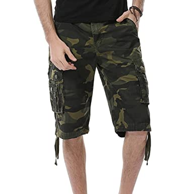 Men's Clothing Men Summer Outdoors Wear Letter Camouflage Printed Casual Loose Short Pants,knee Length Cotton Linen Comfortable Board Shorts