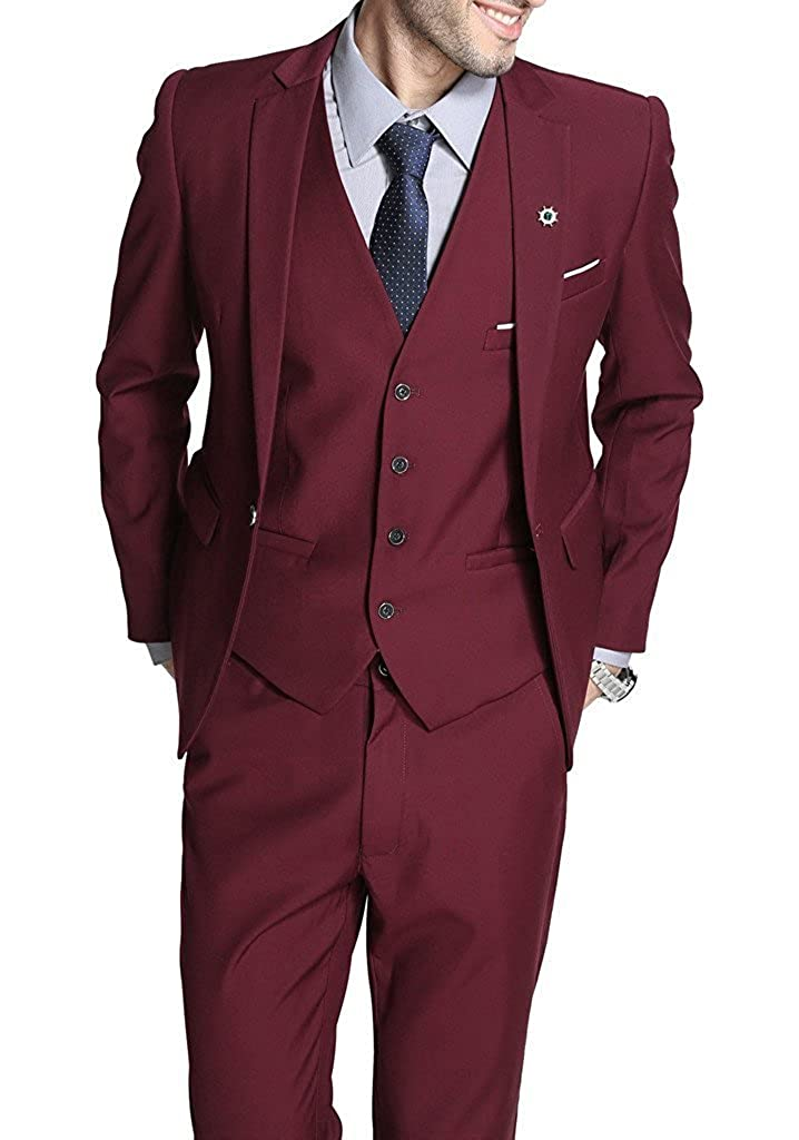 Lilis Mens Multicolor 3 Piece Suit Business Daily Wear Jacket Formal Style