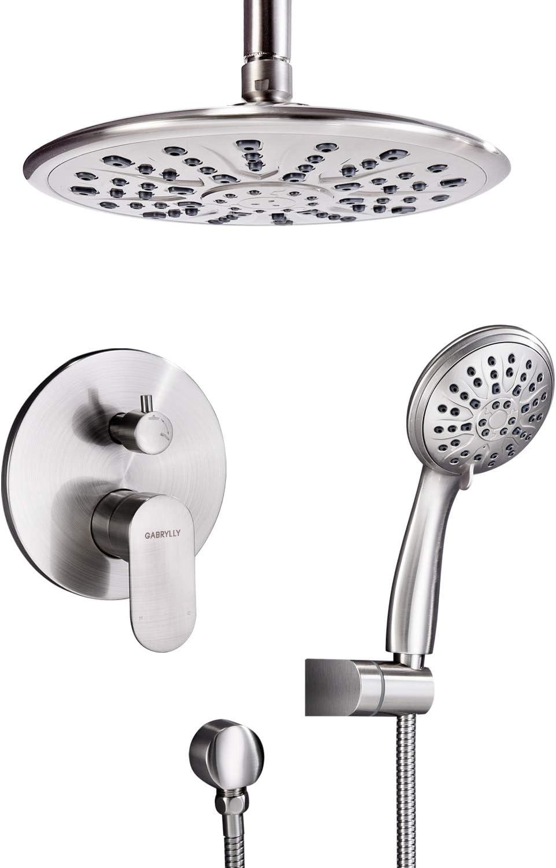 "Bathroom Wall Shower Rose 8/"" Round Bath Overhead Rain Shower Head Faucet Sprayer"