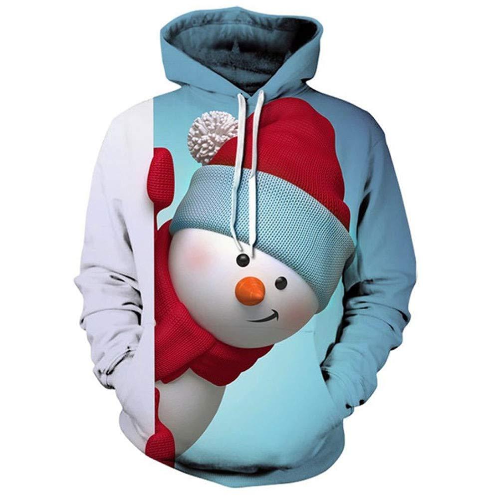 Opeer Merry Christmas Autumn Winter Mens Festive Hooded Sweatshirt Long Sleeve Snowman Printed Pullover Blouse Xmas Gift
