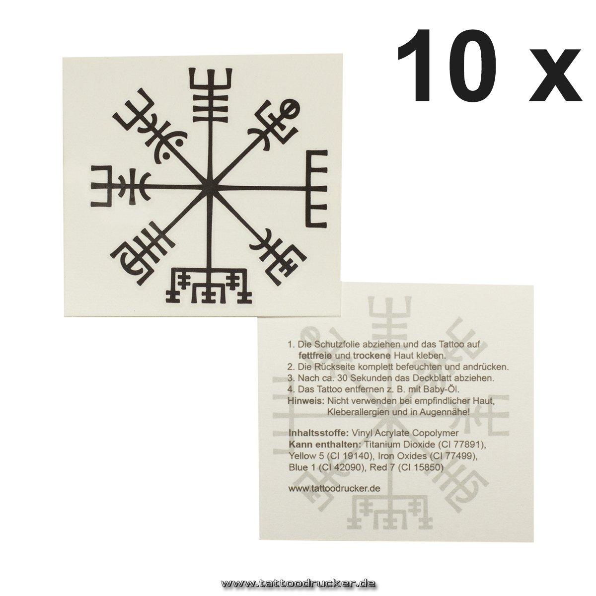 10 x Viking compass tattoo - Vegvísir - Celtic compass - mystical protection symbol (5) TMP Vikinger-Kompass-