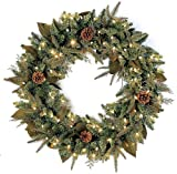 GKI Bethlehem Lighting Pre-Lit 30-Inch PE/PVC Christmas Christmas Wreath with 100 Clear Mini  , Green River Spruce