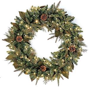 gki bethlehem lighting pre lit 30 inch pepvc christmas christmas wreath with 100 clear mini green river spruce buy gki bethlehem lighting