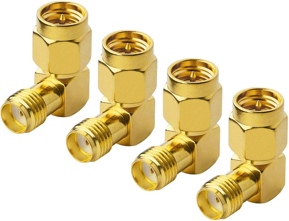 Macho a hembra adaptador 90 grados Gold Plated