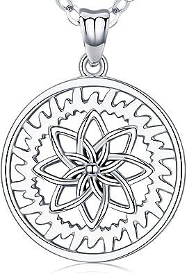 En Argent Sterling 925 Fleur de Vie Pendentif Bijoux Collier