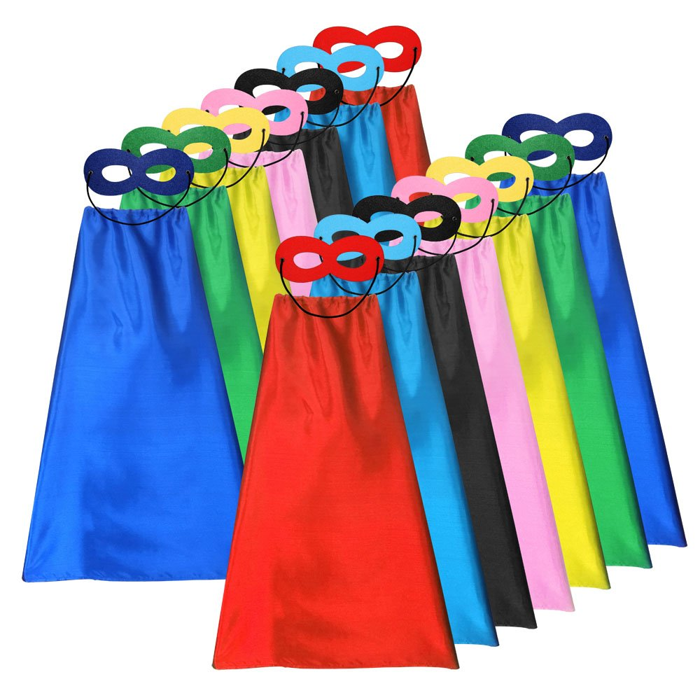 Superhero Capes and Masks for Kids Bulk - DIY Children Capes for Birthday Party - 14sets(28pcs) ADJOY SHCP-14S