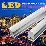 10-Pack of IEKOV™ 10w Integrated T8 LED Tube Light Fixture, Replace of 25W Fluorescent Tube, Plug & Play, CE & RoHS qualified (2ft/0.6m, Day White 6000-6500K, Milky Cover)