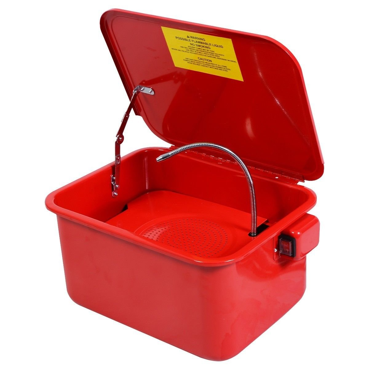 Globe House Products GHP 5-Gallon Tank Capacity 5.28GPM Steel Lid Fusible Link Portable Parts Washer