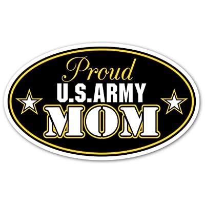 """Proud US Army Mom U.S. Armed Forces Euro Vinyl Bumper Sticker Decal - Ideal For use on Car windows, Bumpers, Walls, Doors, Glass Windows or Any Other Clean Smooth Surfaces 3"""" X 5"""" (Inches): Home & Kitchen"""