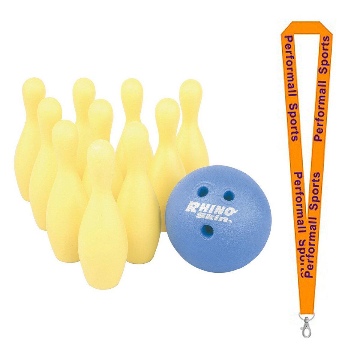 Champion Sports Foam Bowling Pin Set Yellow Bundle with 1 Performall Lanyard FBPINSET-1P