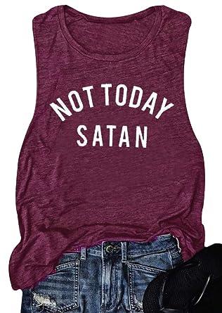 251623e30 Amazon.com: Women Not Today Satan Tank Top Sleeveless Casusal T-Shirts Tops  Vest: Clothing